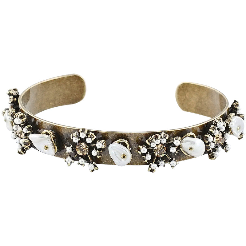 Brass Bracelet w/ Cultured Pearl & Crystals