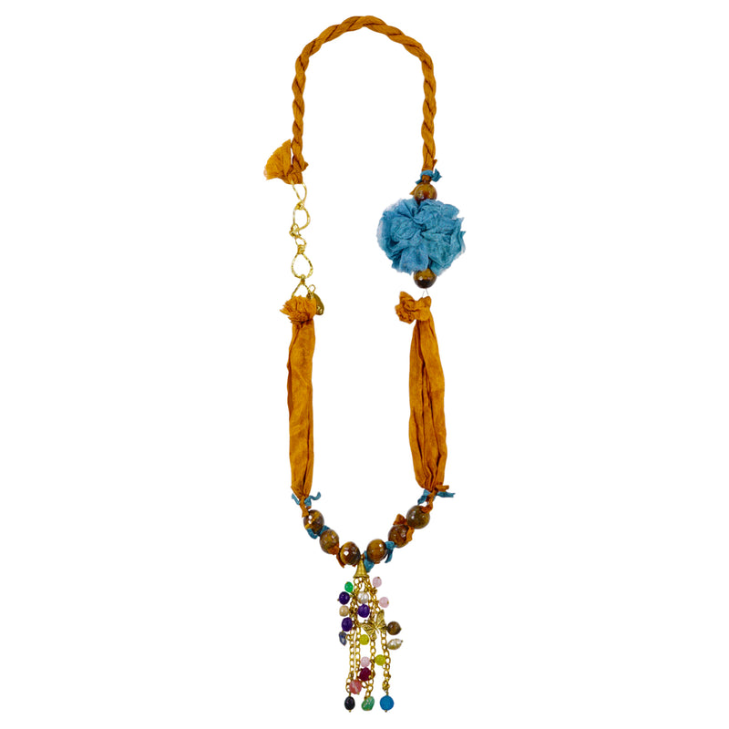 Orange & Blue Necklace w/ Multicolored Pendants