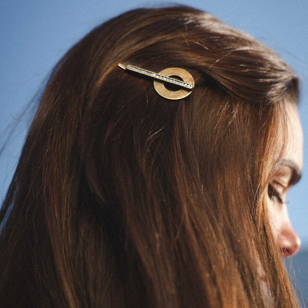 Brass Hairclip w/ Silver Crystals