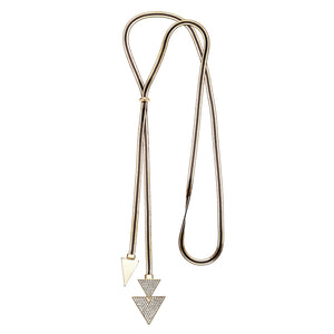 Metal Necklace w/ Crystal Triangles