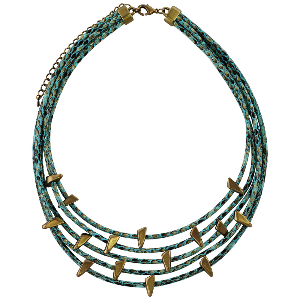 Blue Necklace w/ Coffee Gold Details