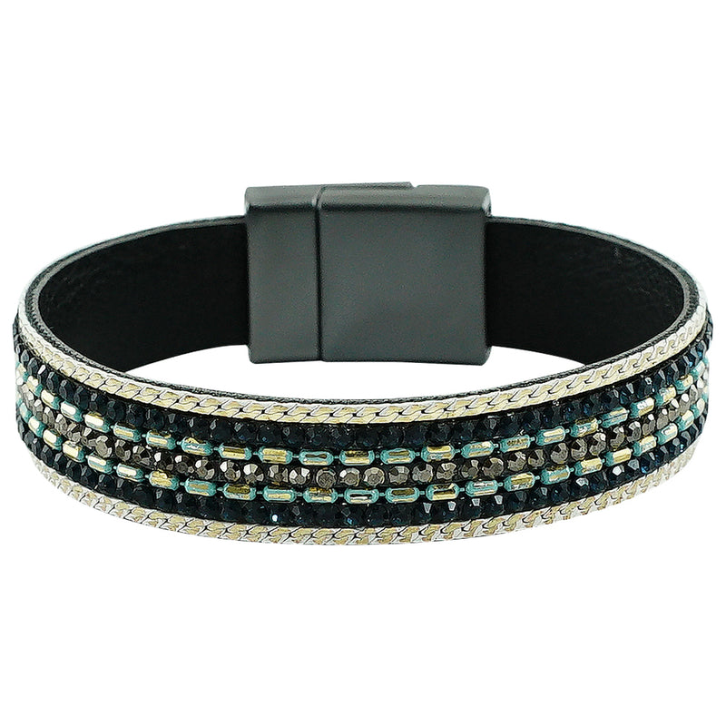 Gunmetal Bracelet w/ Green & Blue Crystals
