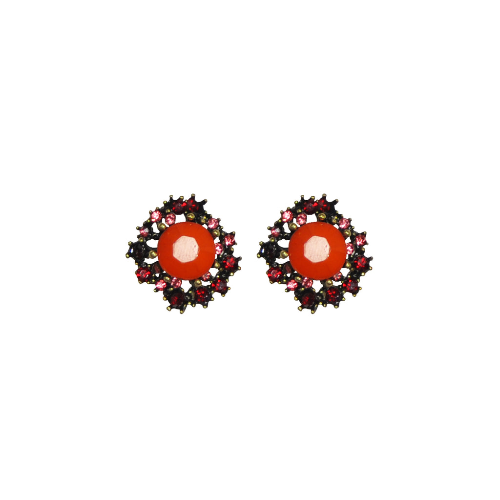 Red crystals earrings