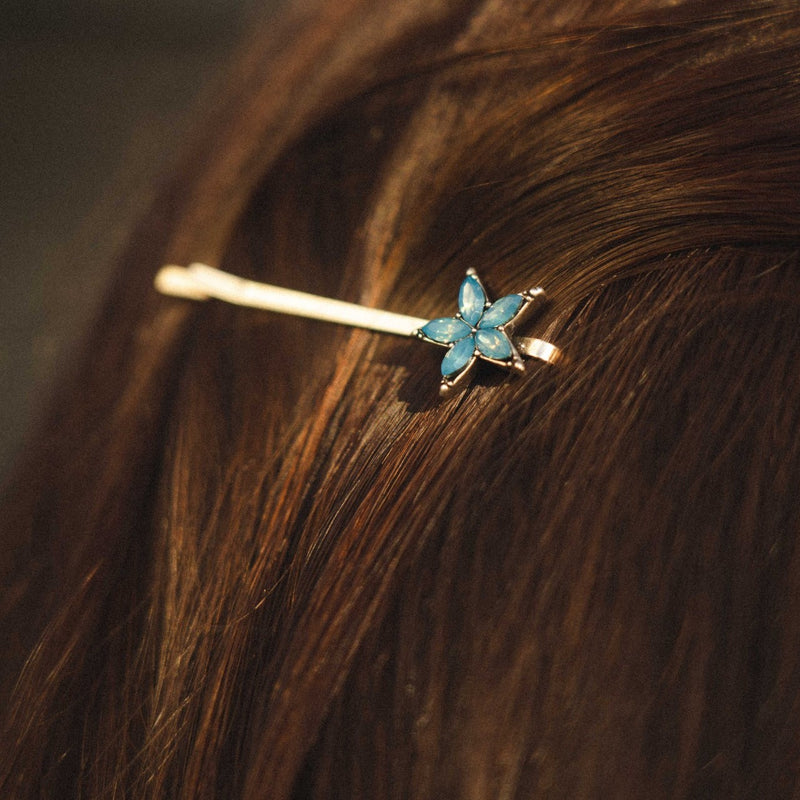 Brass Hairclip w/ Cyan Crystal Flower
