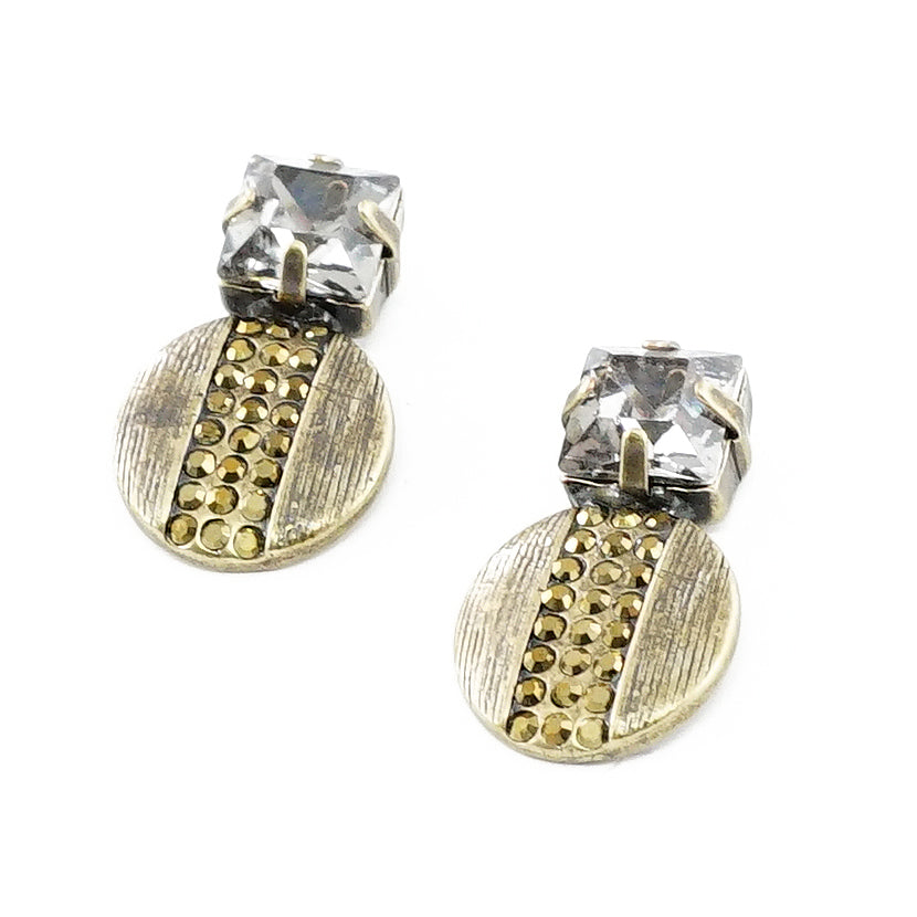 Brass Earrings w/ Golden & Grey Crystals