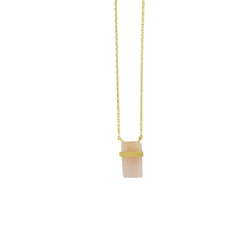 Golden Necklace w/ Pink Stone Pendant
