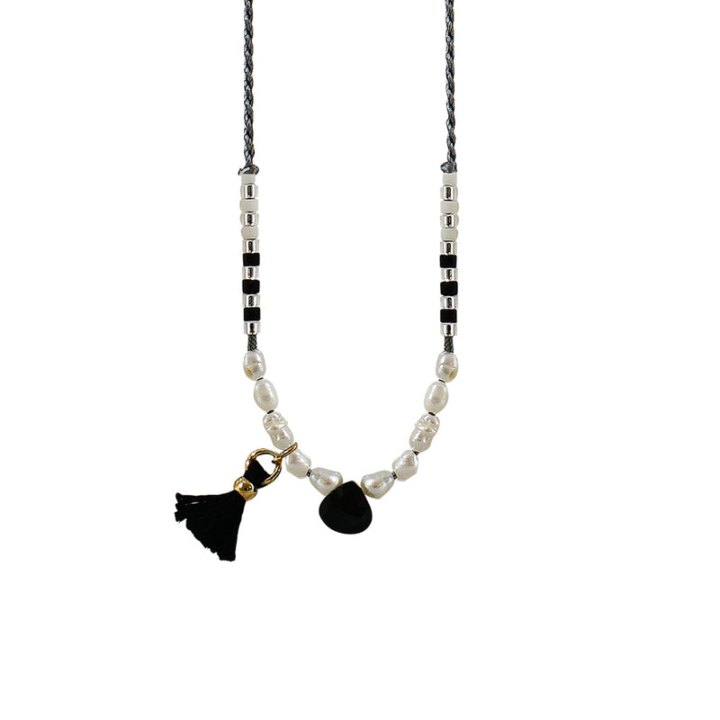 Grey Necklace w/ Black Stone, Cultured Pearls & Tassels