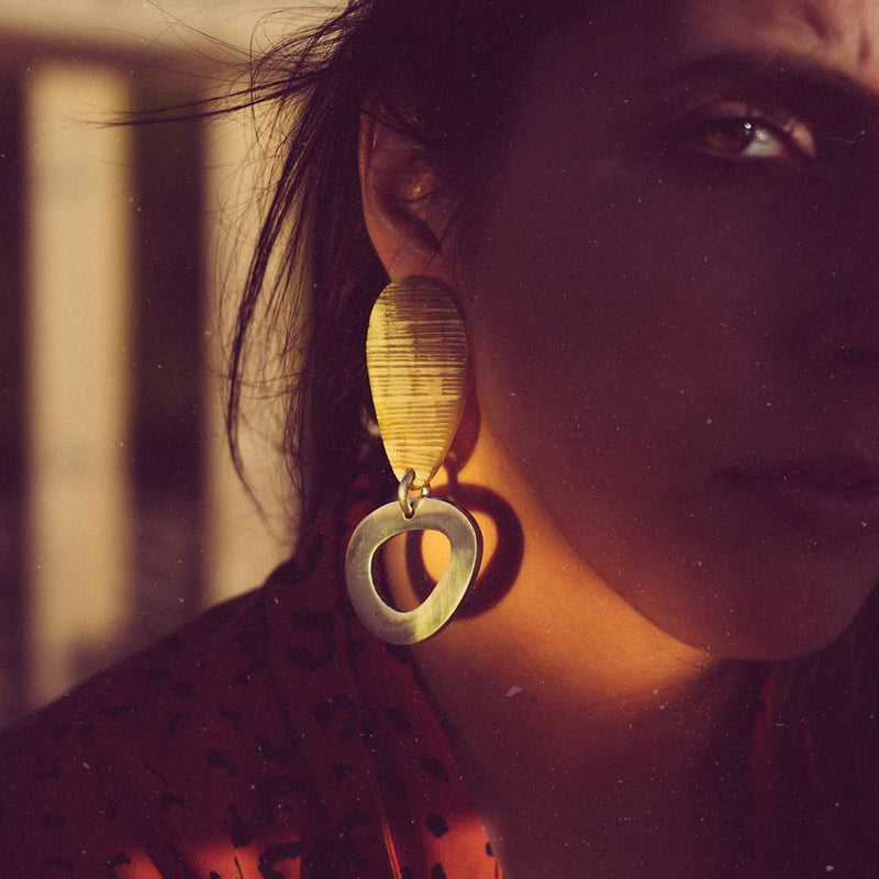 Horn & Metal Earrings