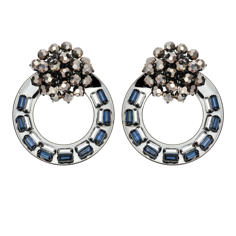 Gunmetal Earrings w/ Crystals