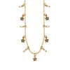 Golden Necklace w/ Crystal Stars & Freshwater Pearls