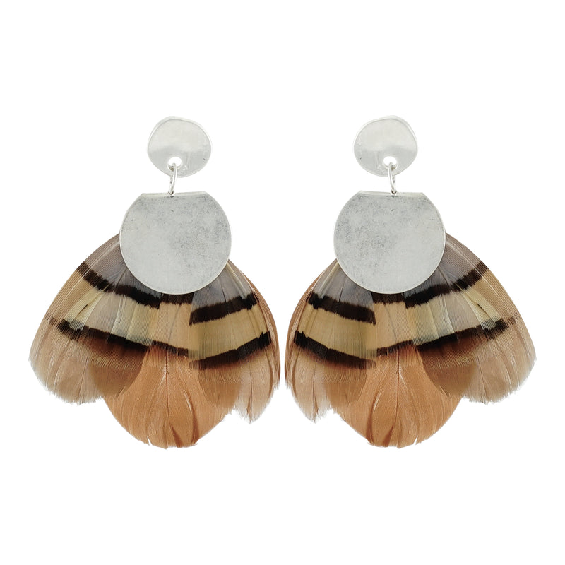 Brown & Grey Feather Earrings