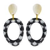 Black & White Pattern Earrings w/ Horn