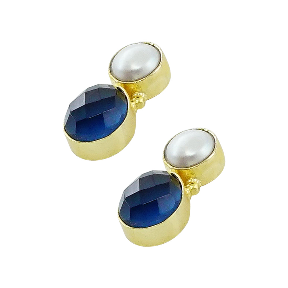 Golden Earrings w/ Cultured Pearl and Dark Blue Stone