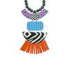 Patterned Resin Necklace w/ Tassels