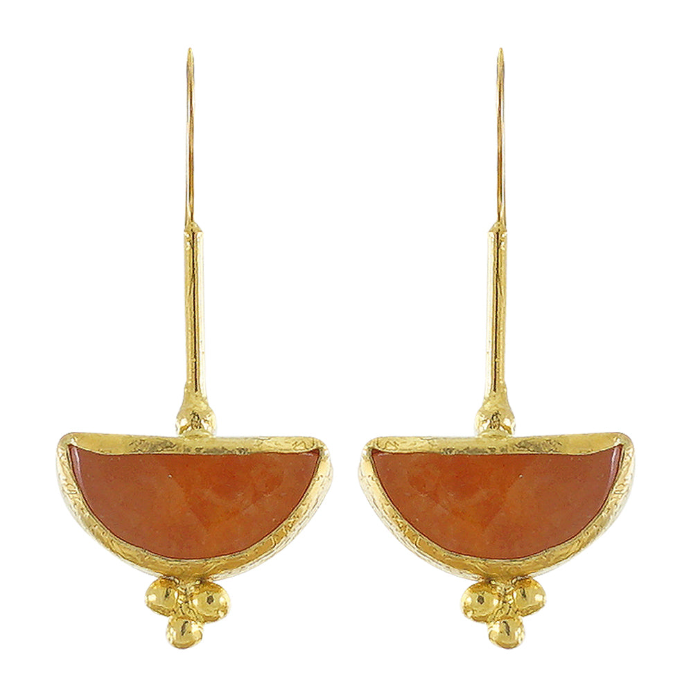 Golden Earrings w/ Orange Jade Stone