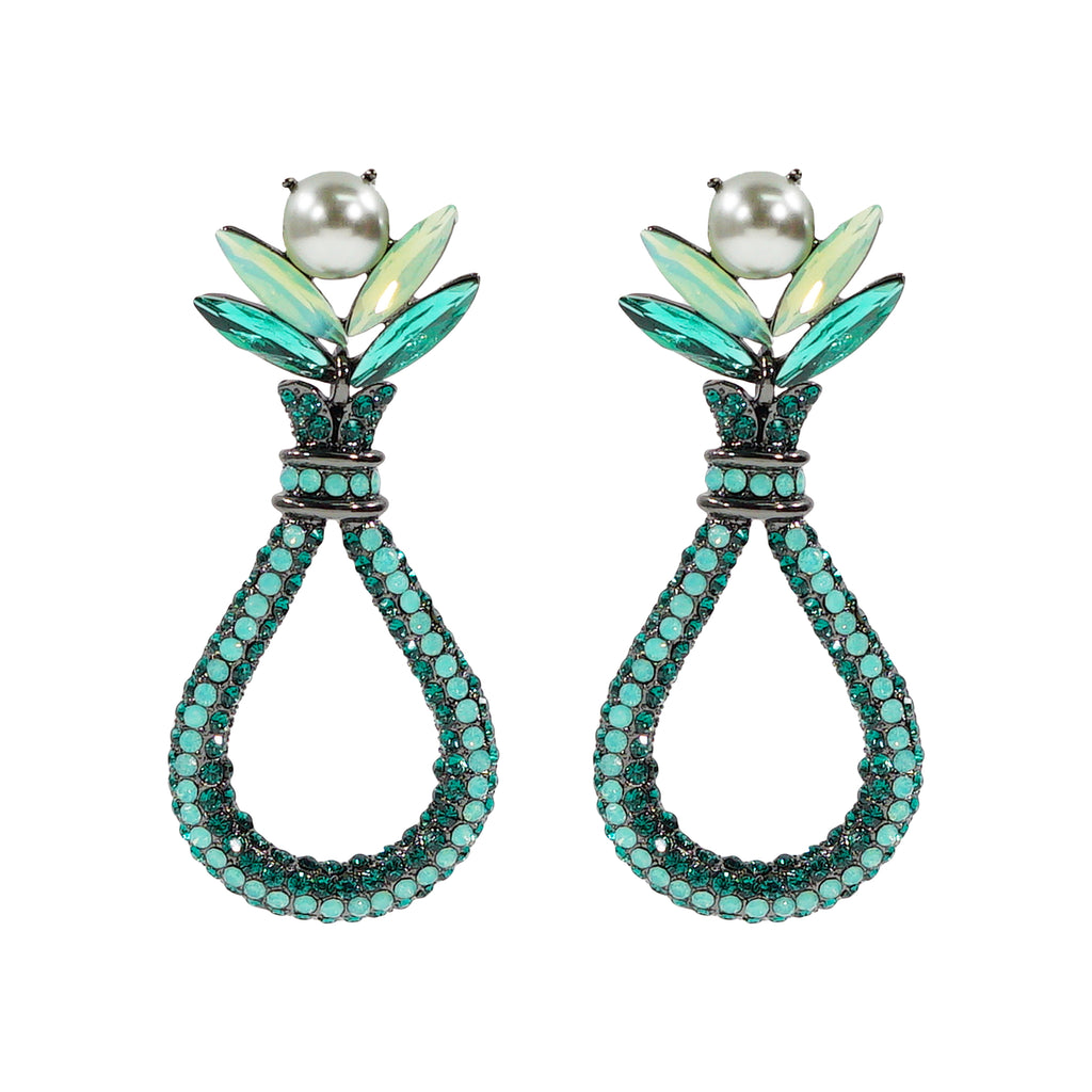 Cyan & Turquoise Crystal Earrings