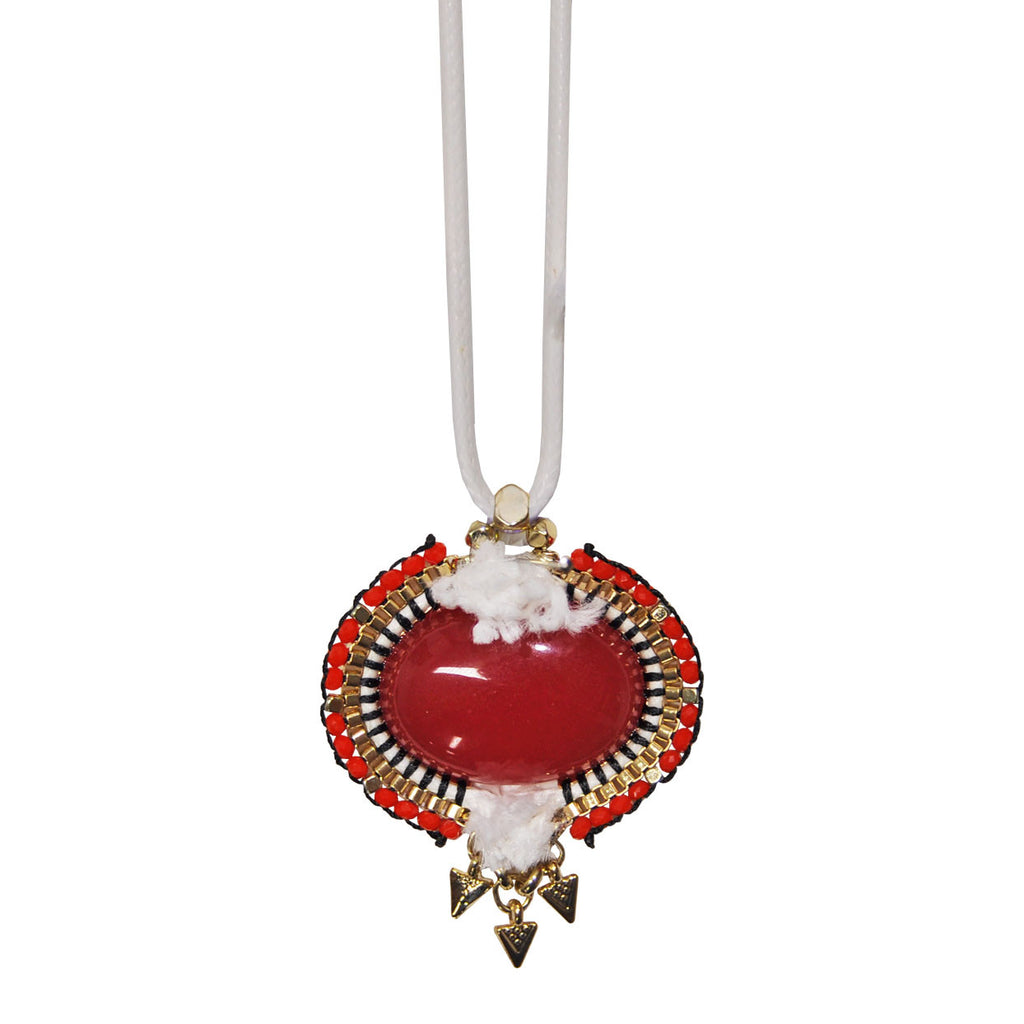 White Necklace with Red Pendant