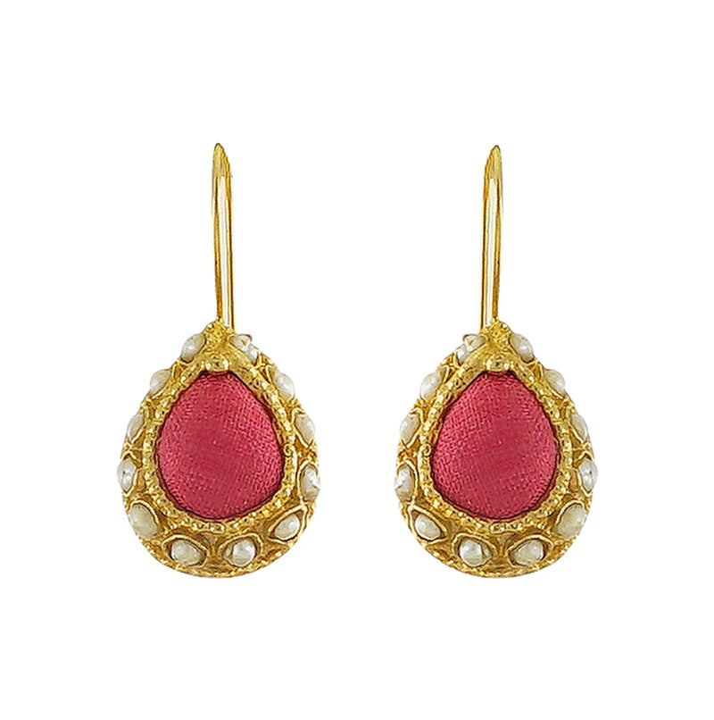 Golden Earrings w/ Red Silk & Cultured Pearls