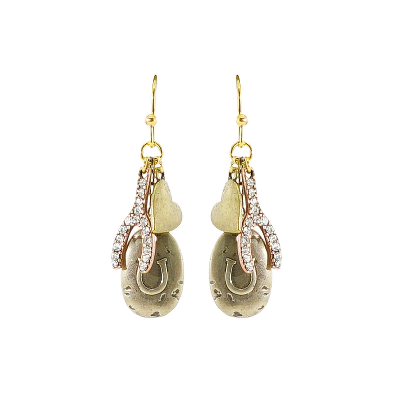 Golden Horseshoe Pendant Earrings