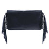 Black Leather Bag with Fringe