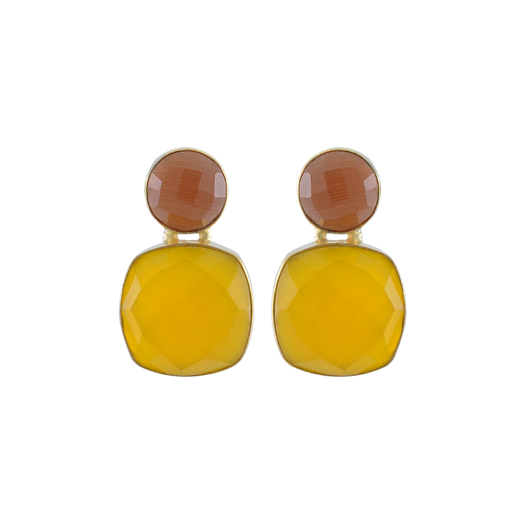 Yellow & Orange Crystal Earrings