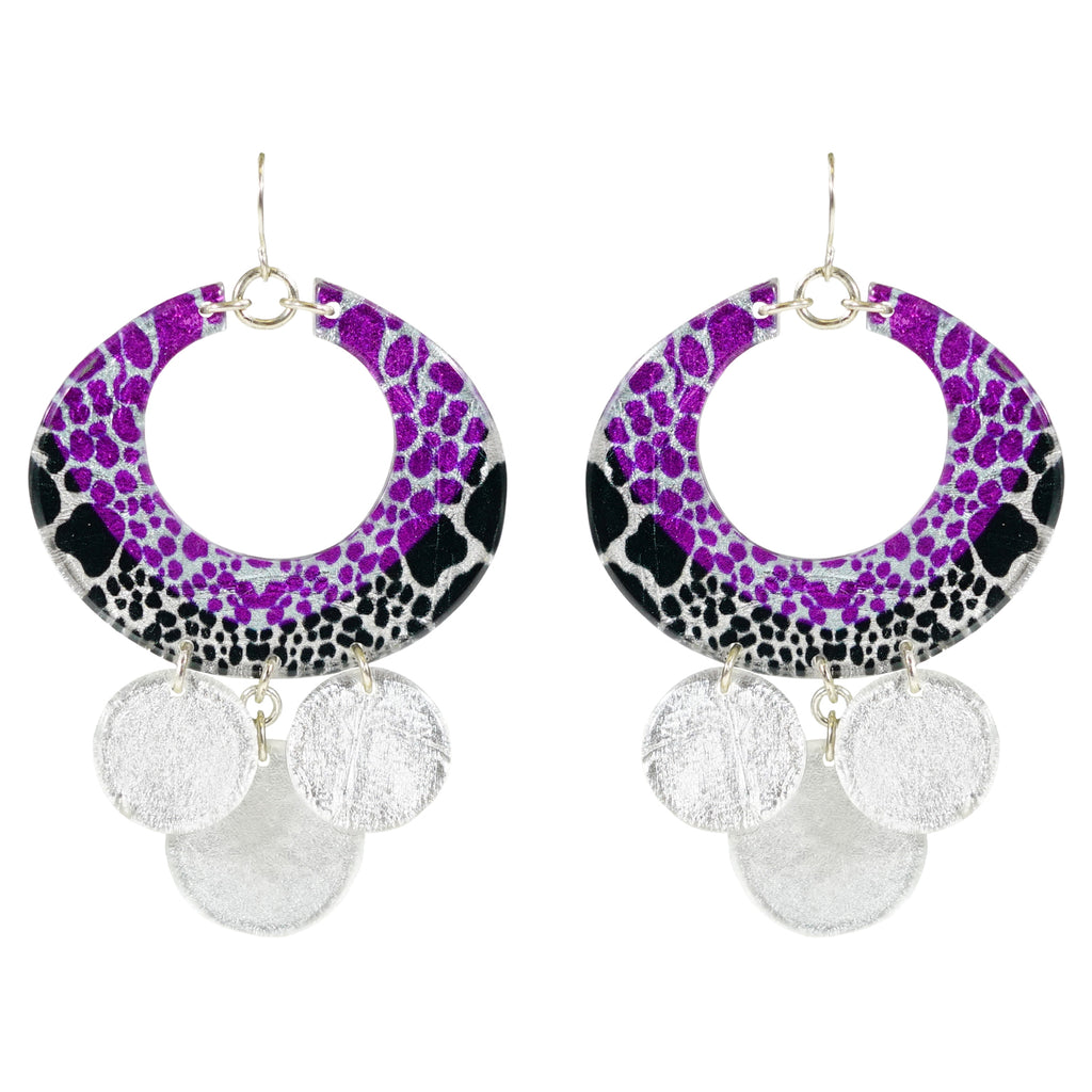 Silver Resin Earring w/ Patterns