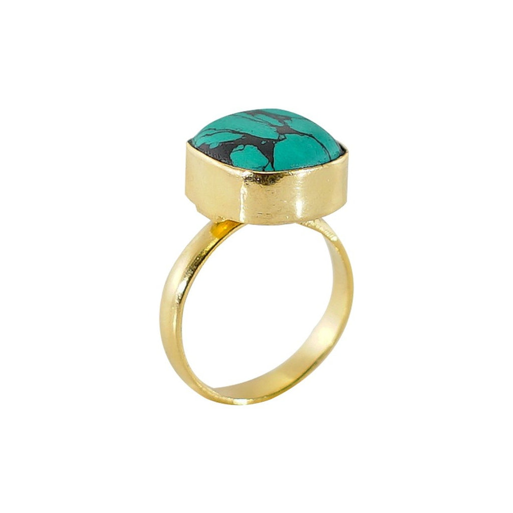 Golden Ring with Turquoise Stone