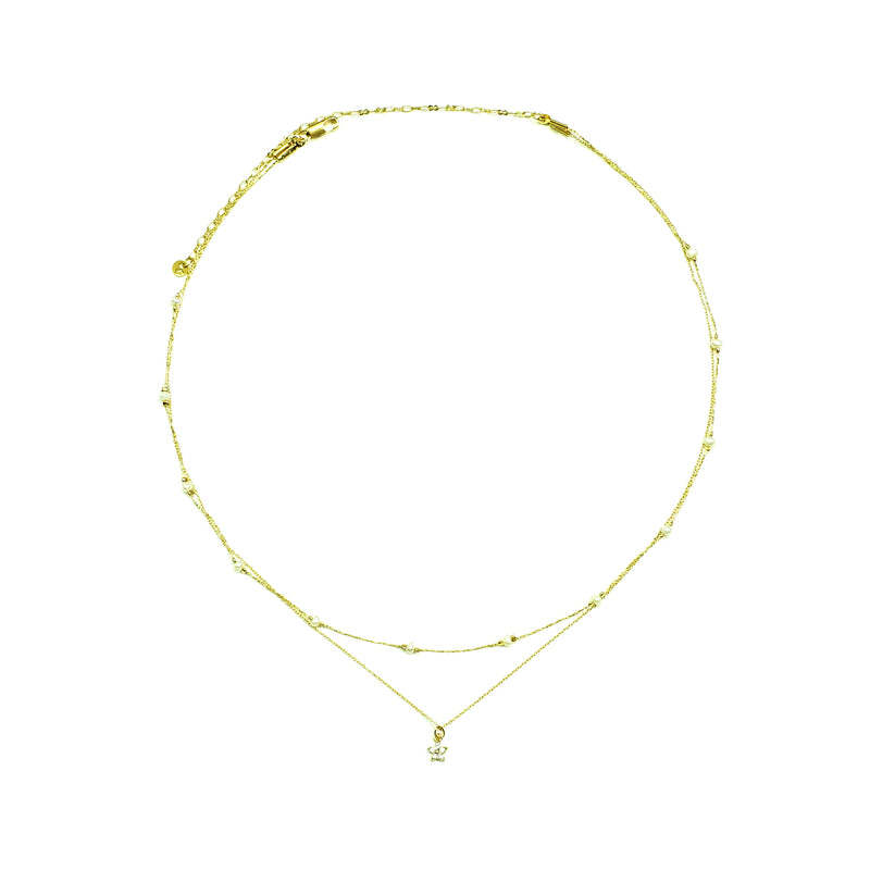 Gold Necklace with Pearls and star pendant