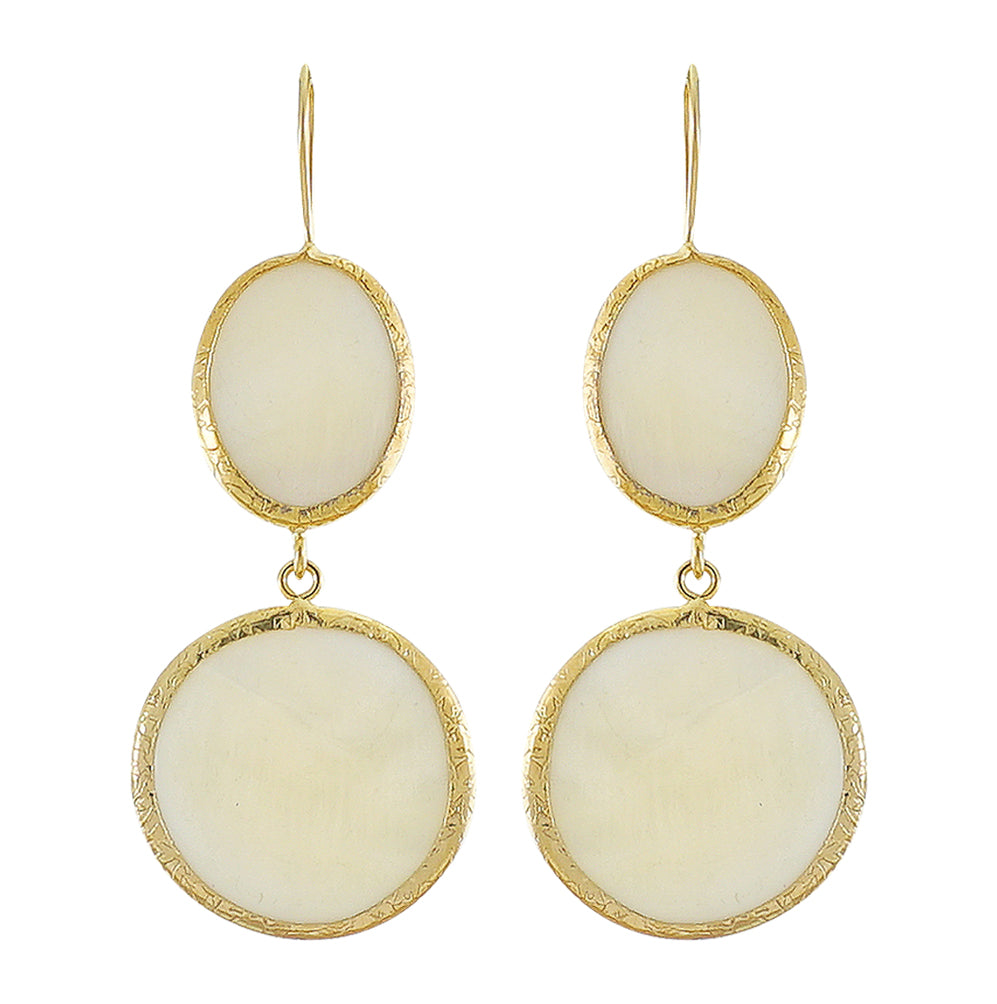 Golden Earrings w/ Mother of Pearl