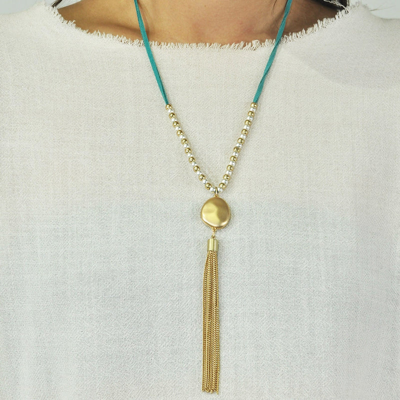 Blue Suede Necklace w/ Golden Pendant & Cultured Pearls