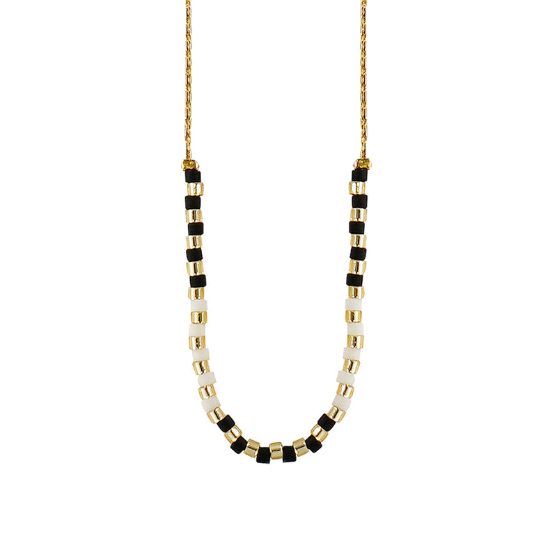 Golden Necklace w/ Black & White Beads