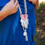 Wood Necklace with Tassel & Shell