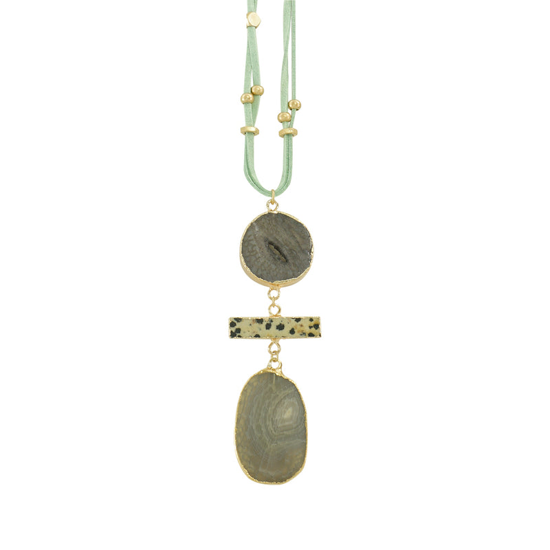 Suede Necklace w/ Stone Pendants & Golden Pieces