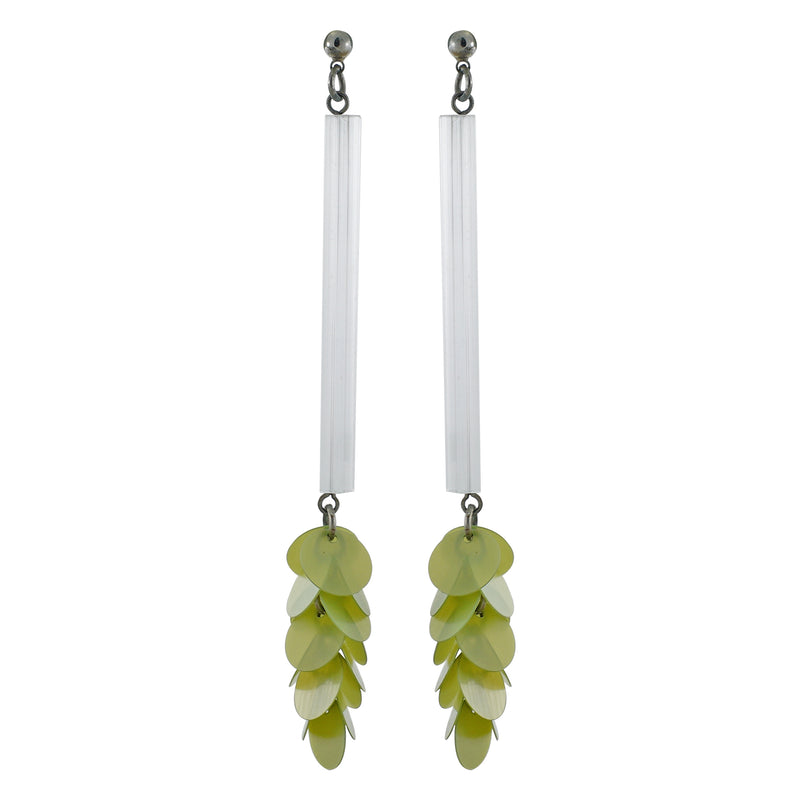 White & Green Earrings