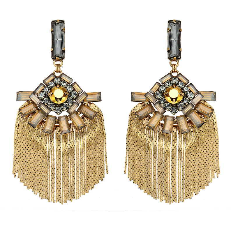 Golden Earrings w/ Crystals
