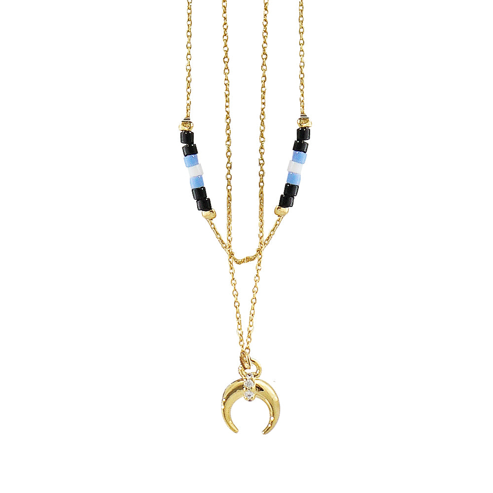 Double Necklace w/ Golden Moon