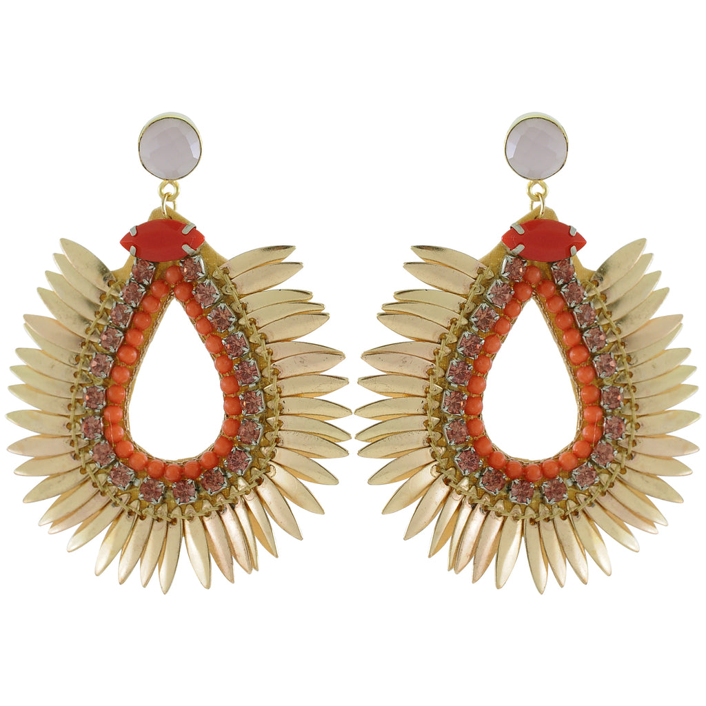 Golden Earrings w/ Red Crystals
