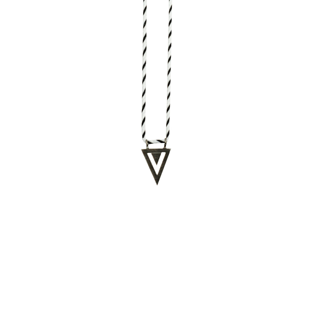 Black & White String Necklace w/ Triangle