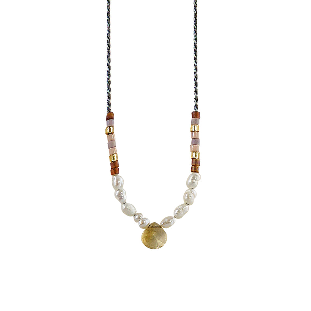 Grey Necklace w/ Yellow Stone & Cultured Pearls