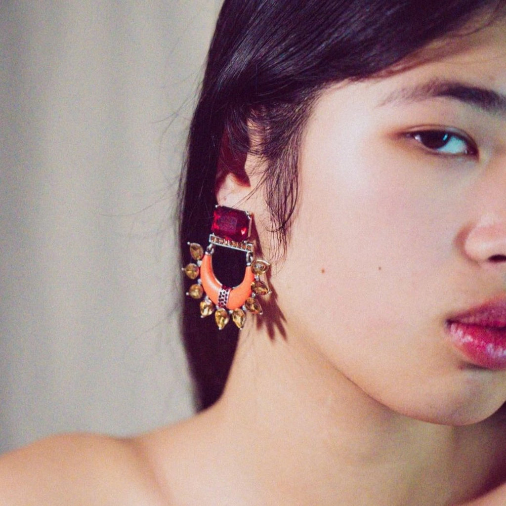 Multicolored Crystal Earrings w/ Orange Resin