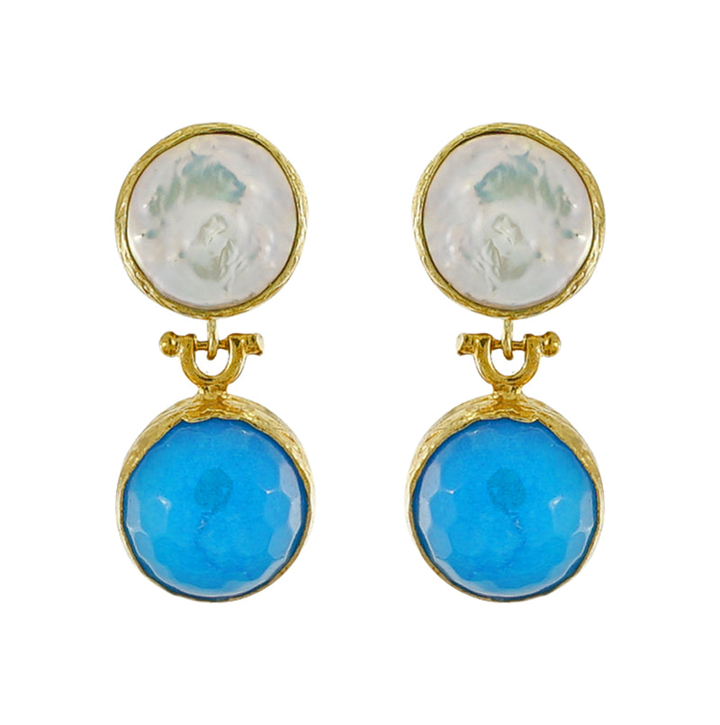 Golden Earrings w/ Cultured Pearl & Blue Jade