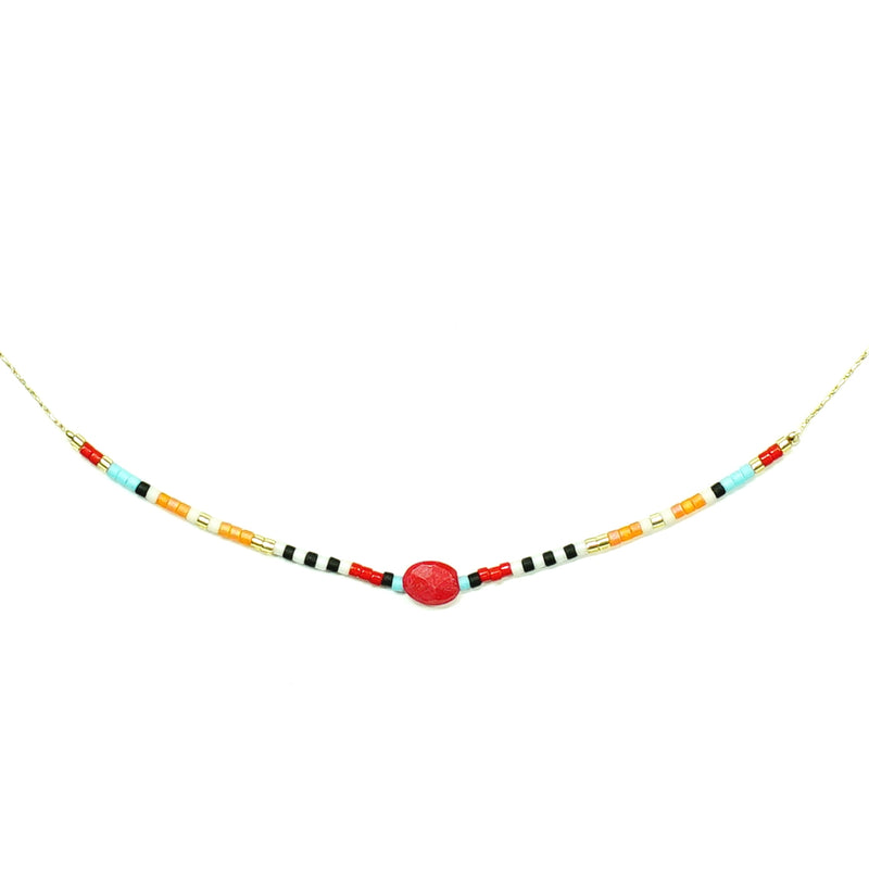 Multicolored Miyuku Beads Necklace w/ red stone