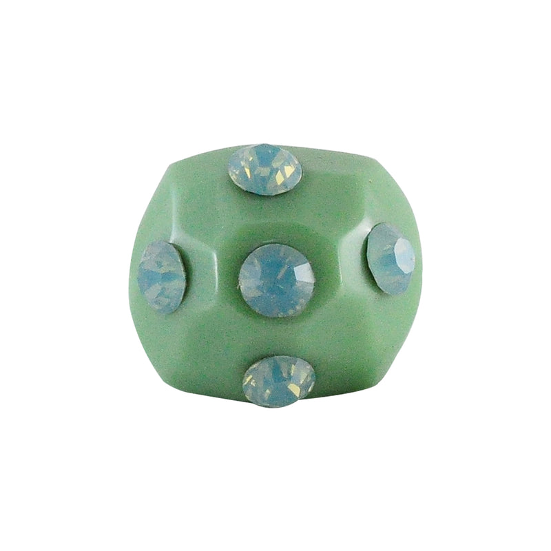 Green Resin Ring w/ Light Blue Crystals