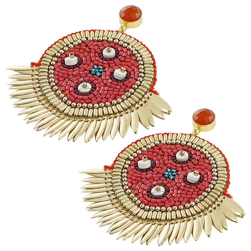 Golden Earrings w/ Red Beads & Orange Stone