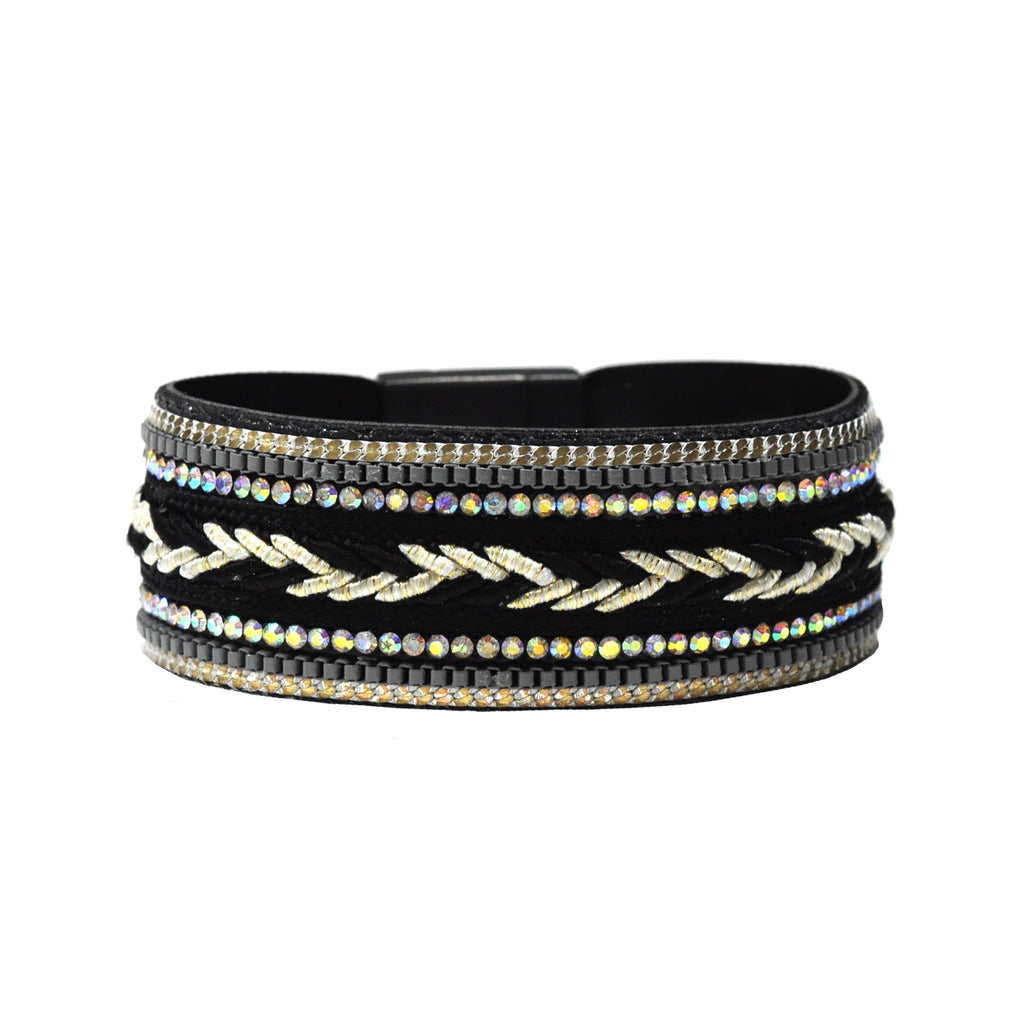Black Bracelet with Multicolor Crystals