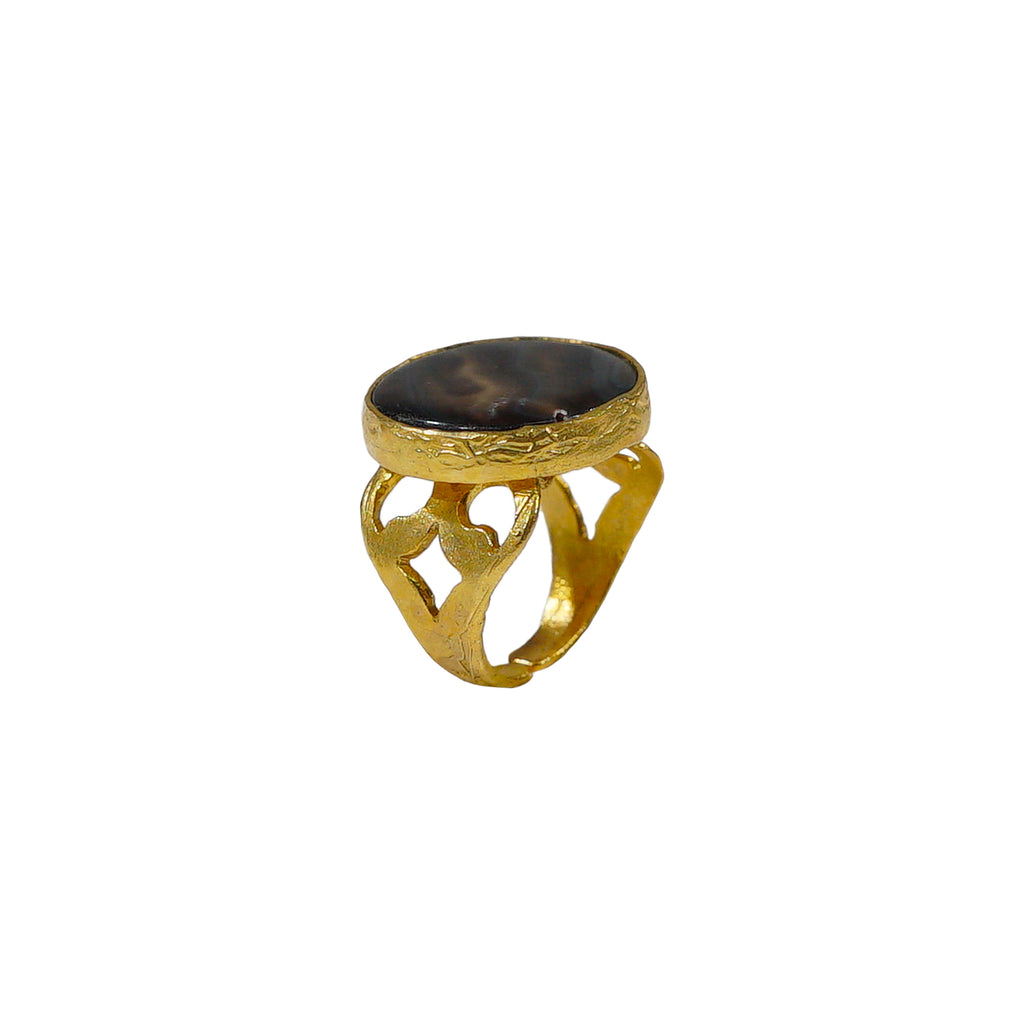 Golden Ring w/ Coffee Stone