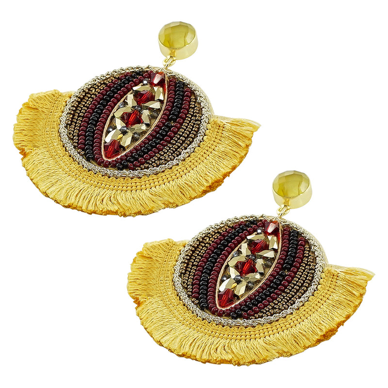Multicolored Earrings w/ Tassels & Yellow Stone