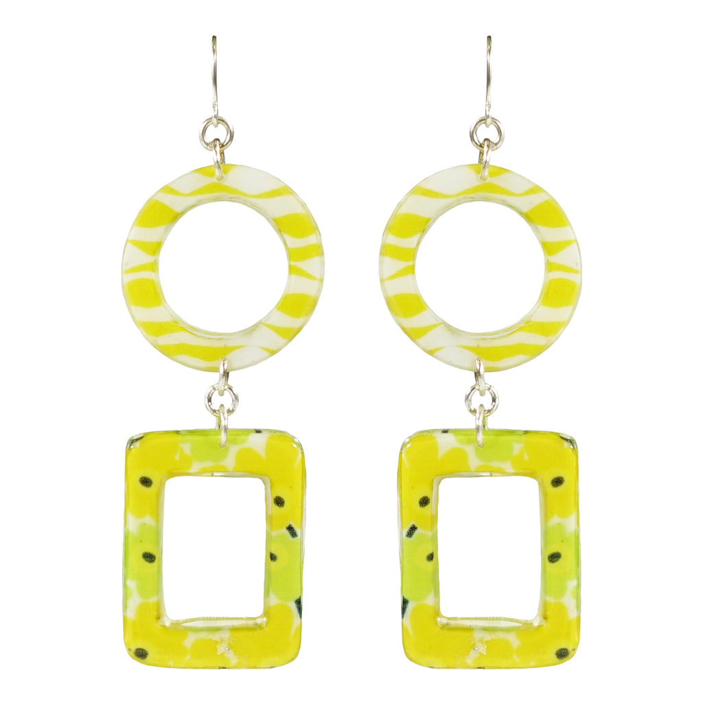 White, Yellow & Green Resin Earrings