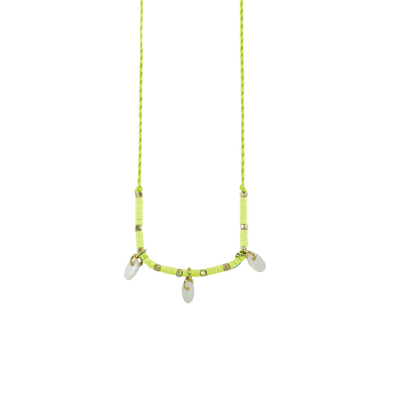 Lime Necklace w/ Pearl Pendants