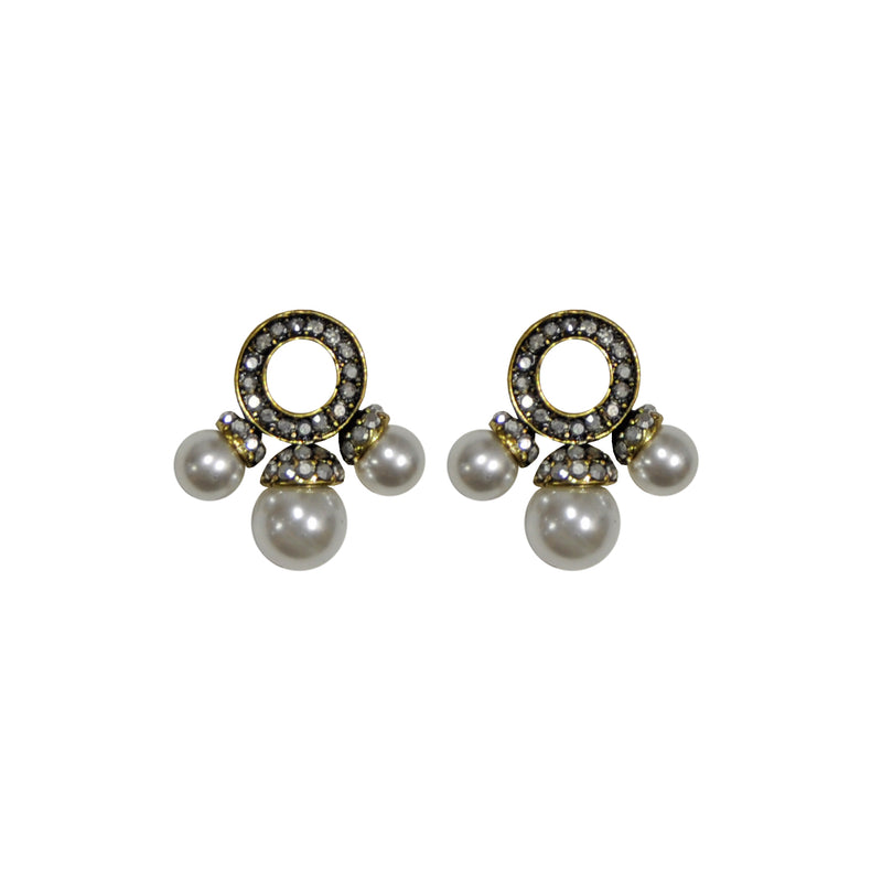 Silver crystal earrings with pearls
